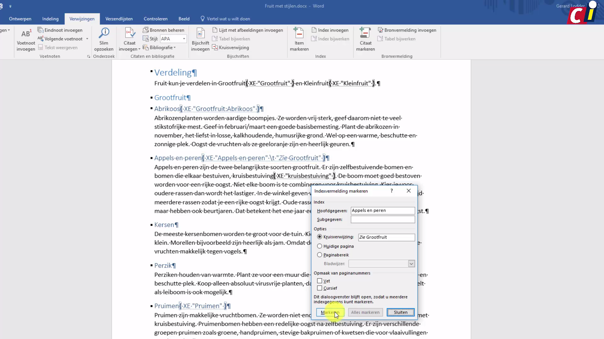 how to create index in word 2016
