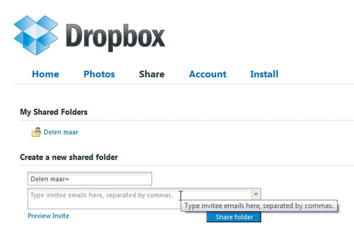 dropbox link delen