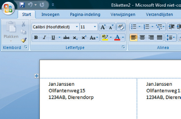 etiketten maken in word
