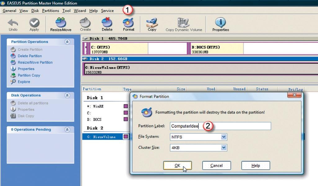 Organiseer uw harde schijven met partition master computer idee - Een verwijderbare partitie maken ...