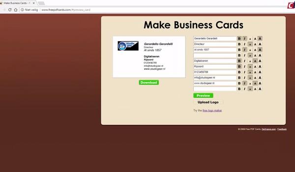 Visitekaartjes maken met Make Business Cards