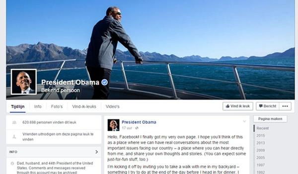 Amerikaanse president nu ook op Facebook