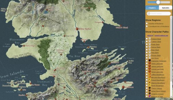 Game of Thrones Interactive Map - Een interactieve kaart van GoT