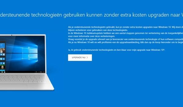 Gratis upgraden naar Windows 10 kan nog steeds
