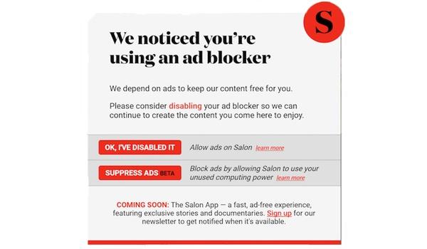 Online magazine Salon test cryptomining in plaats van advertenties