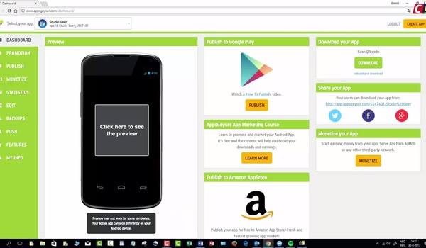 AppsGeyser – App publiceren