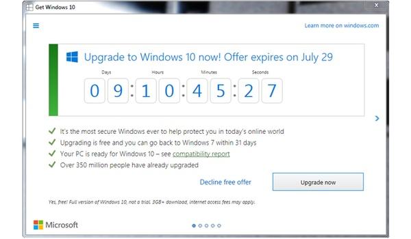 Upgraden naar Windows 10: Aftellen is (letterlijk) begonnen