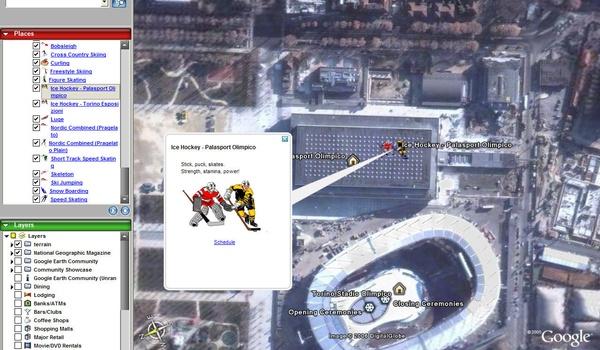Torino 2006 in vogelvlucht met Google Earth