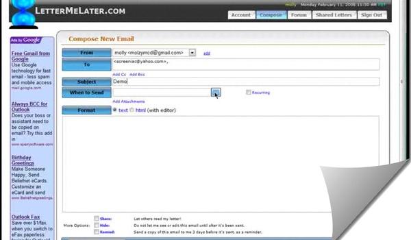 Emails later versturen met LetterMeLater