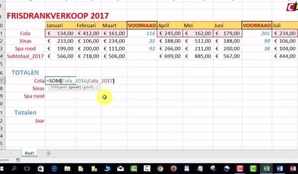 Naamgebruik in Excel