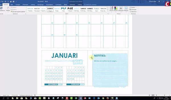 Word 2016: sjabloon academische kalender
