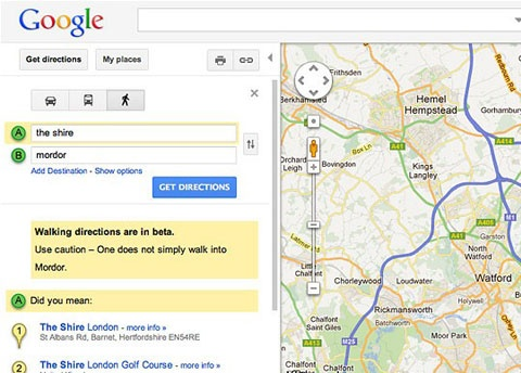 Hobbit Easter egg Google Maps