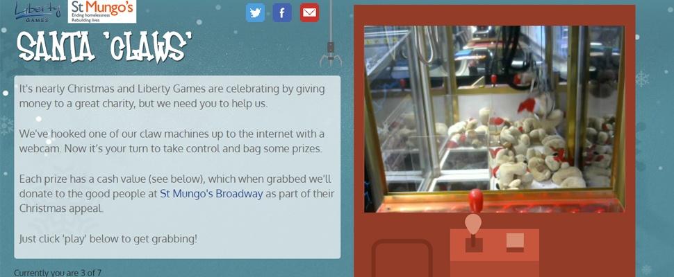 Santa Claws: Online grijpmachine voor goede doel