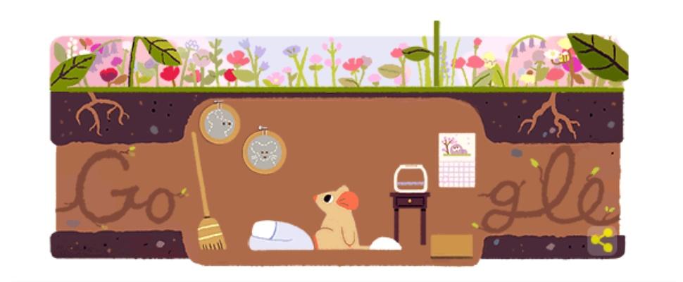 Lente-equinox gevierd met Google Doodle