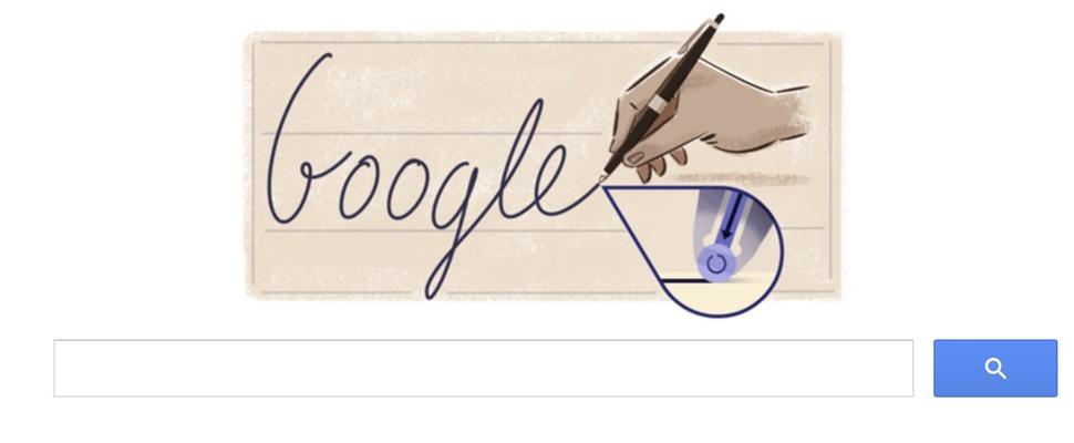 Ladislao José Biro met een doodle herdacht door Google