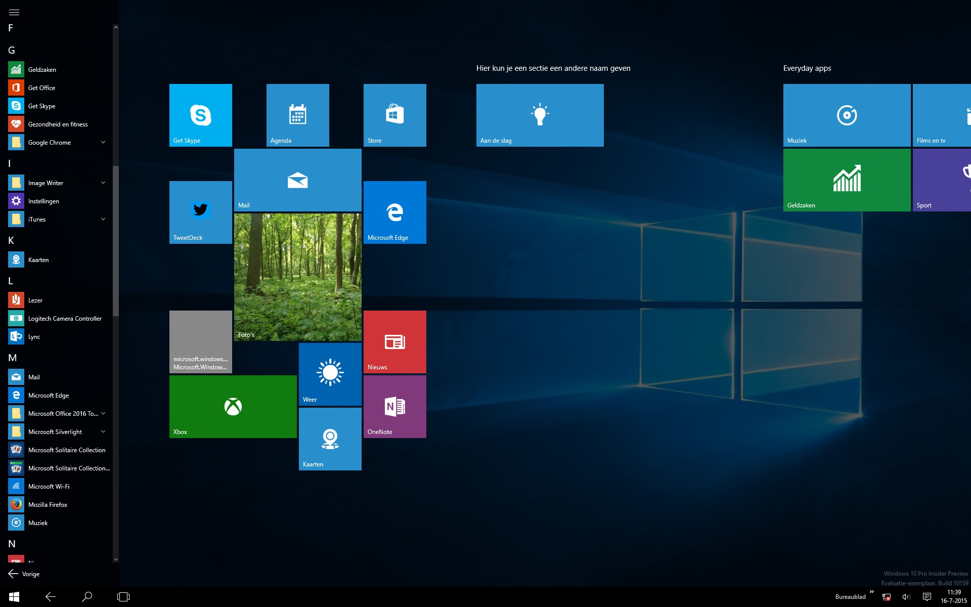 Windows 10 het startmenu van dichtbij nieuws for Windows 7 bureaublad