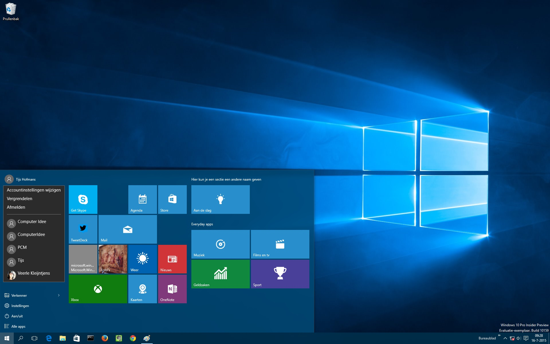 Alles over het nieuwe startmenu van windows 10 computer idee for Windows 8 bureaublad