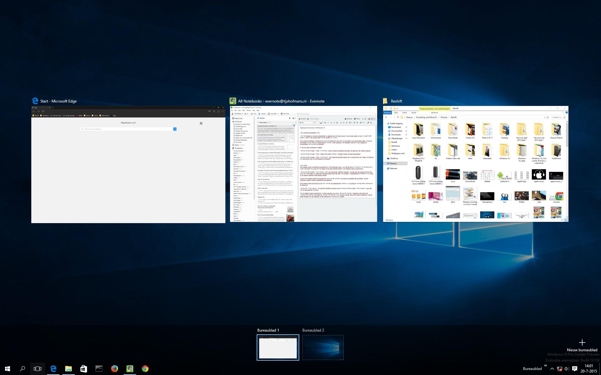 Windows 10: Virtuele bureaubladen en 'Taakweergave ... | 1920 x 1200 jpeg 260kB