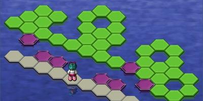 Hex-a-hop - Breek alle groene tegels in het level