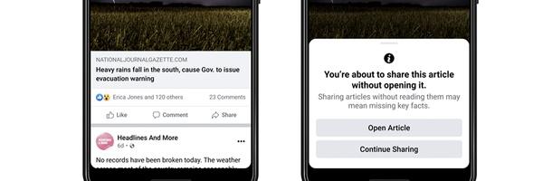 Facebook test melding bij delen van ongelezen nieuwsberichten