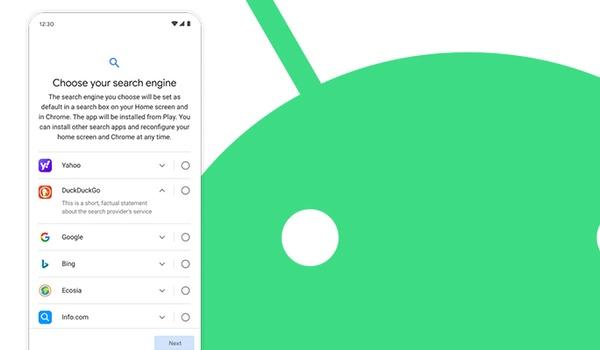 Eerlijkere verdeling voor plek in zoekmachine-keuzescherm Android