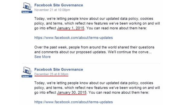 Facebook stelt veranderen privacyvoorwaarden uit