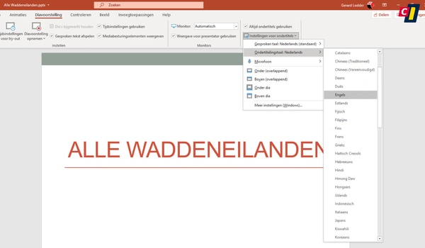 PowerPoint: live ondertiteling