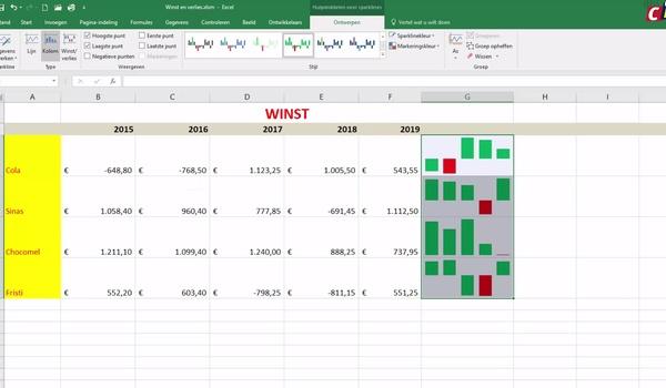 Excel: sparklines