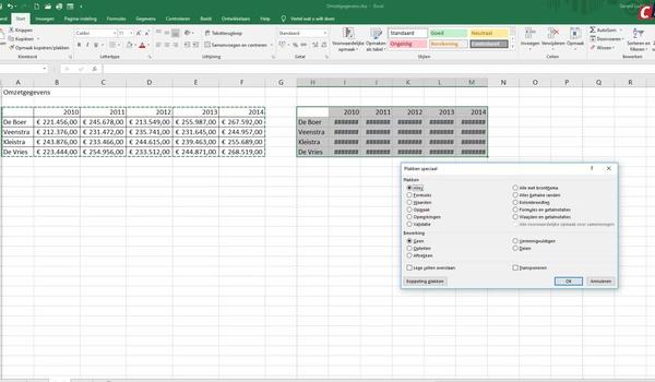 Excel: speciale waarden plakken