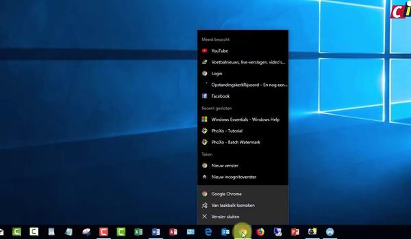 Windows 10: Jump Lists