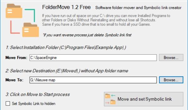 FolderMove - Verplaats programma's eenvoudig naar een andere schijf