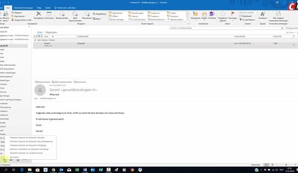 Outlook: e-mail toevoegen aan agenda