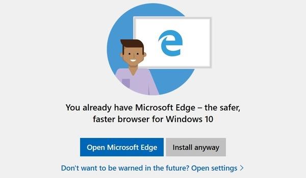 Microsoft raadt installeren andere browsers af in nieuwste Windows 10-versie