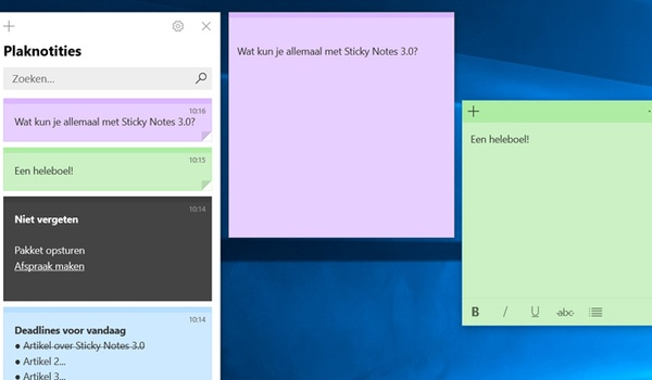 Geheugensteuntjes op je pc met Sticky Notes 3.0