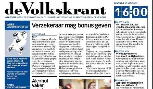 Volkskrant: elke dag om vier uur gratis print-nieuws