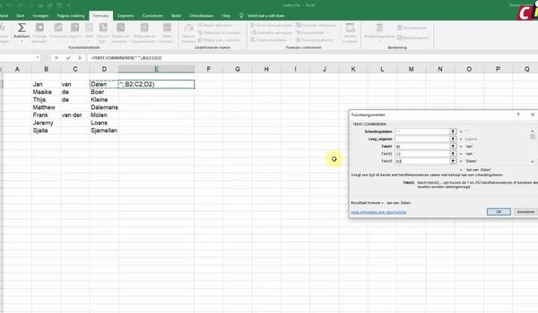 Excel: Tekst combineren en waardes plakken