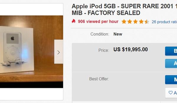 Zeldzame iPod te koop voor 20.000 dollar
