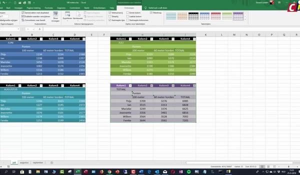 Excel: tabel opmaken