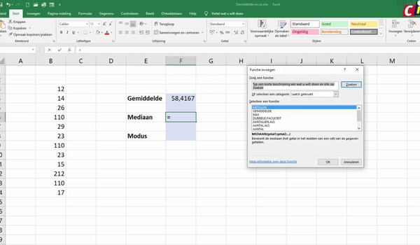 Excel: gemiddelde, mediaan en modus berekenen