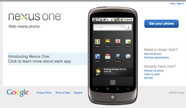 Google Nexus One voor $530