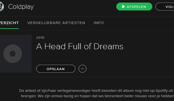 Nieuwe Coldplay-album ook niet op Spotify