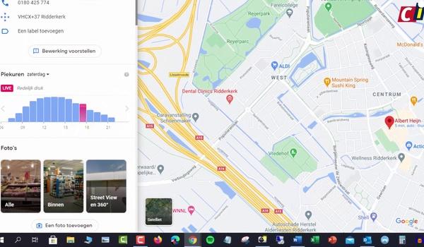 Google Maps: drukte bekijken