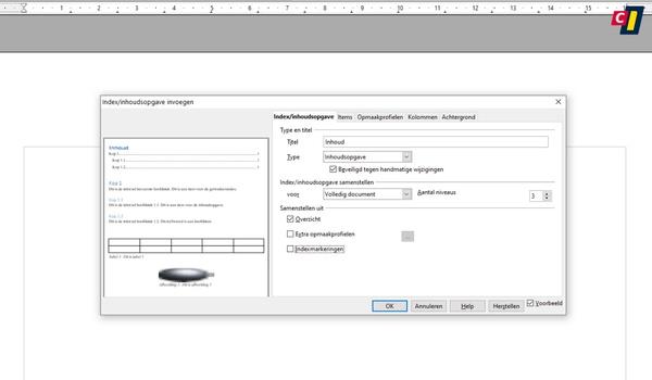 OpenOffice: inhoudsopgave maken