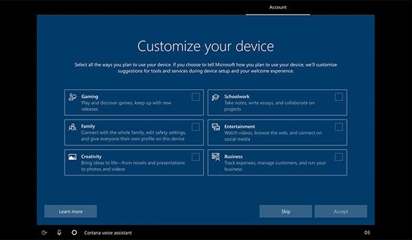 Windows 10-installatie vraagt: waarvoor gebruik je de pc?