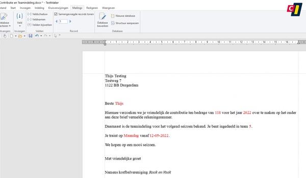 TextMaker: maillijst maken (2)
