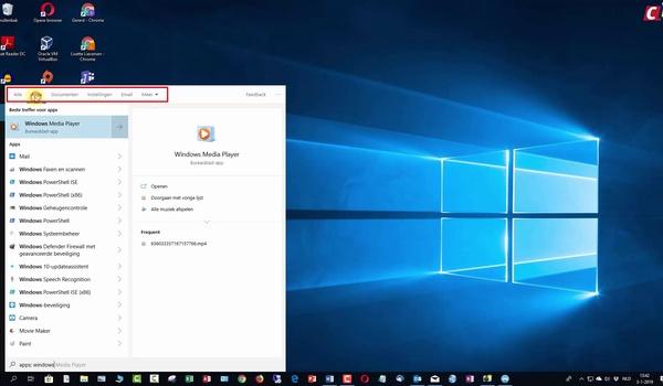 Windows 10: zoekfunctie