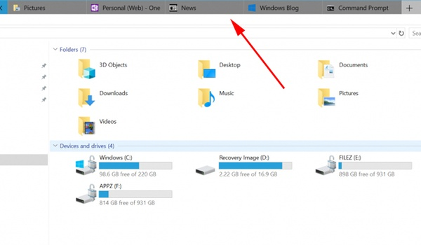 Microsoft toont tabbladen in Windows 10