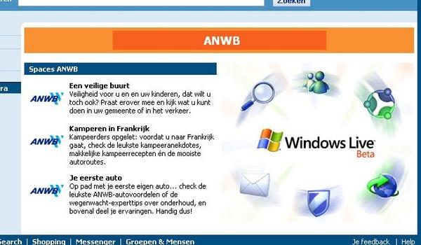 ANWB en MSN doen proef met MSN Spaces