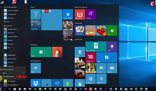 Windows 10: snelkoppelingen in Start