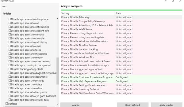 Spydish - Privacyinstellingen Windows aanpassen